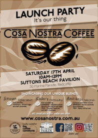 cosa nostra coffee launch party flyer