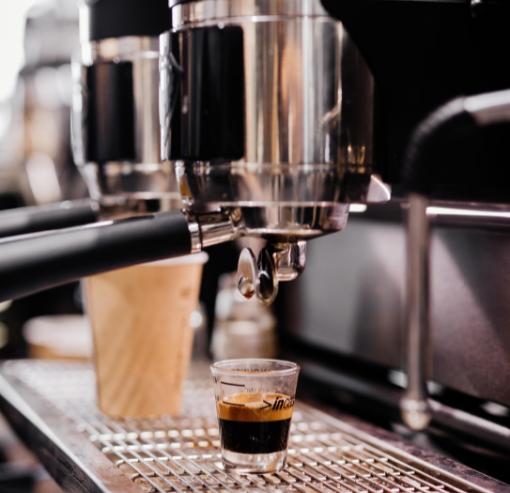 single espresso shot on machine